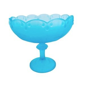 Vintage Indiana Glass frosted Footed Bowl Aqua